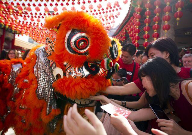 Tradycyjny taniec lwa podczas chińskiego Nowego Roku