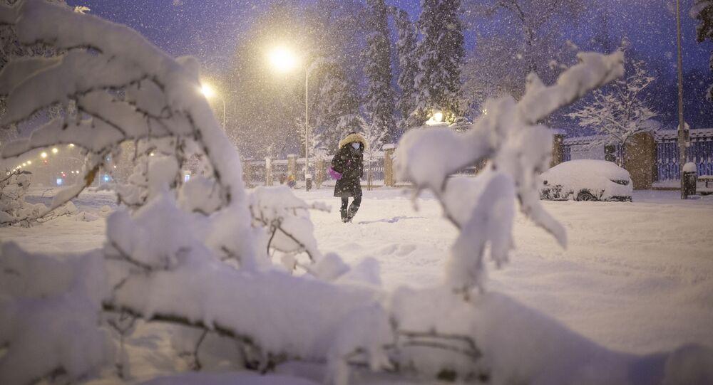Opady śniegu w Hiszpanii.