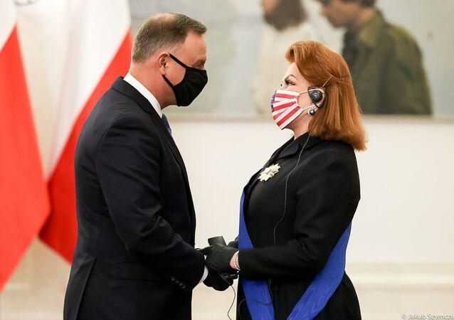 Prezydent Andrzej Duda i ambasador USA Georgette Mosbacher