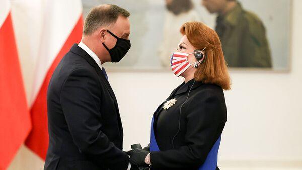 Prezydent Andrzej Duda i ambasador USA Georgette Mosbacher - Sputnik Polska