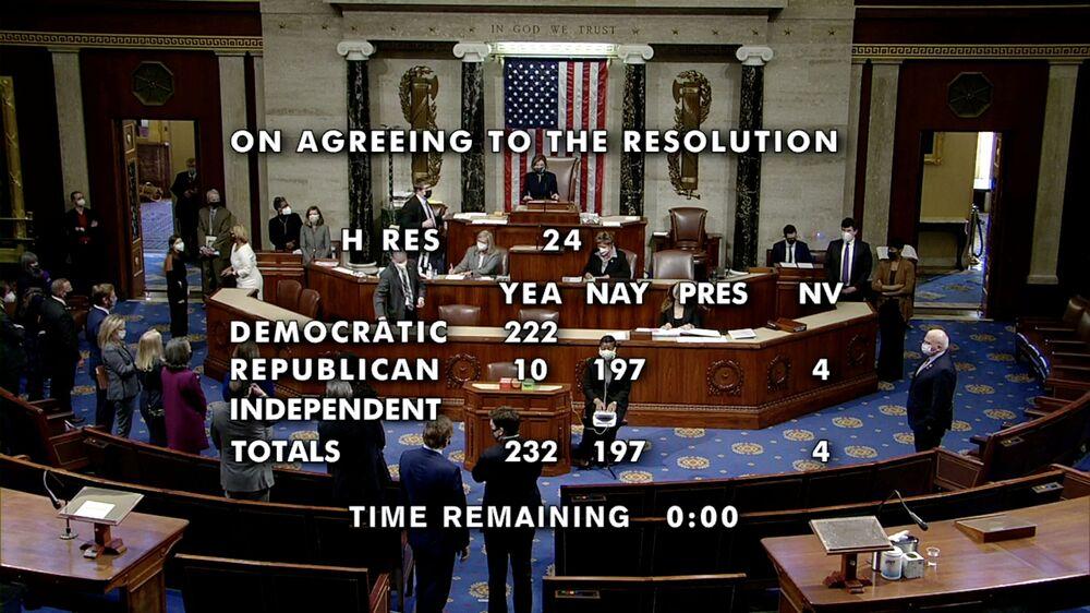 Spiker Izby Reprezentantów Stanów Zjednoczonych Nancy Pelosi podczas głosowania nad artykułem impeachmentu prezydenta Donalda Trumpa