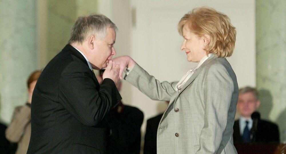 Prezydent Polski Lech Kaczyński z minister finansów Zytą Gilowską