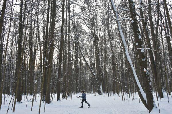 Dziewczyna na nartach w Parku Izmajłowskim w Moskwie - Sputnik Polska