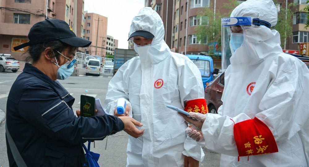 Sprawdzanie temperatury na ulicy w prowincji Jilin