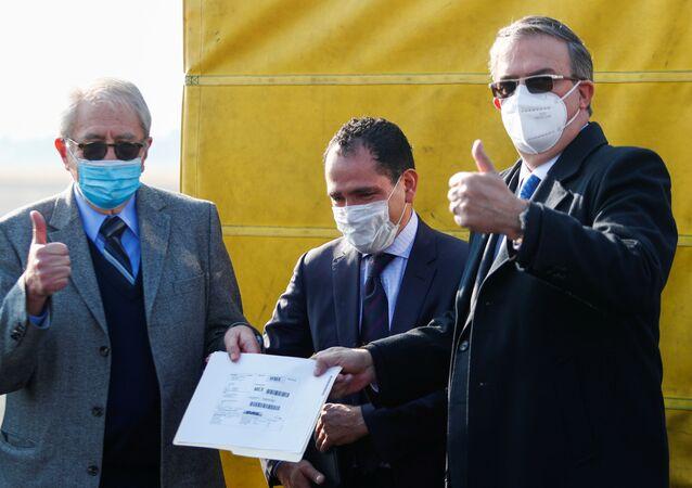 Meksykański minister spraw zagranicznych Marcelo Ebrard i minister zdrowia Jorge Carlos Alcoser