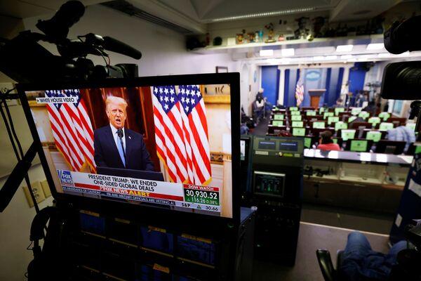 Prezydent USA Donald Trump w telewizji ostatniego dnia urzędowania w Waszyngtonie - Sputnik Polska