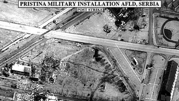 Bombardowanie lotniska wojskowego w Prisztinie podczas operacji NATO - Sputnik Polska