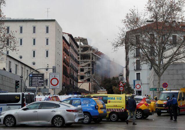 Skutki eksplozji w centrum Madrytu
