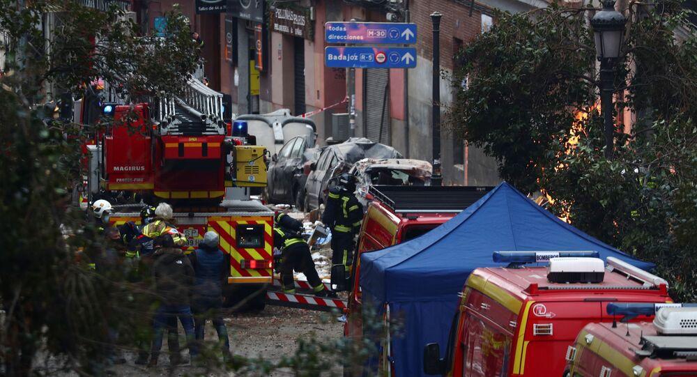 Straż pożarna na miejscu wybuchu w Madrycie