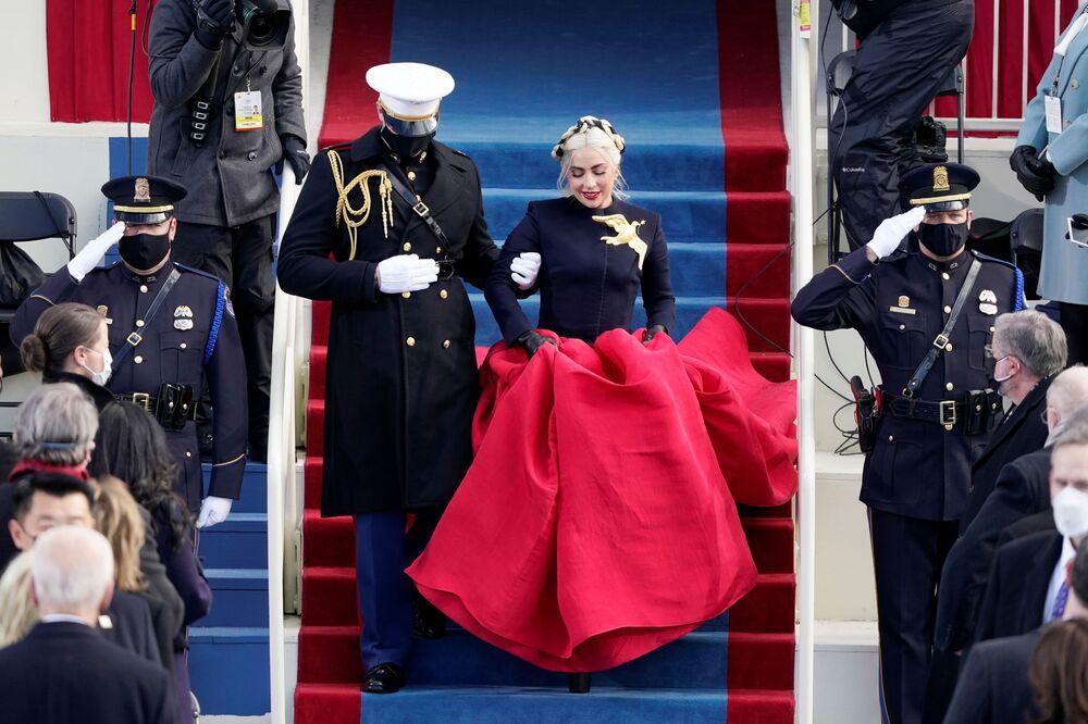 Piosenkarka Lady Gaga podczas inauguracji prezydenta USA