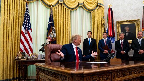 Prezydent USA Donald Trump w Gabinecie Owalnym w Białym Domu, 2020 rok  - Sputnik Polska