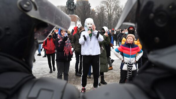 Protesty w Petersburgu - Sputnik Polska
