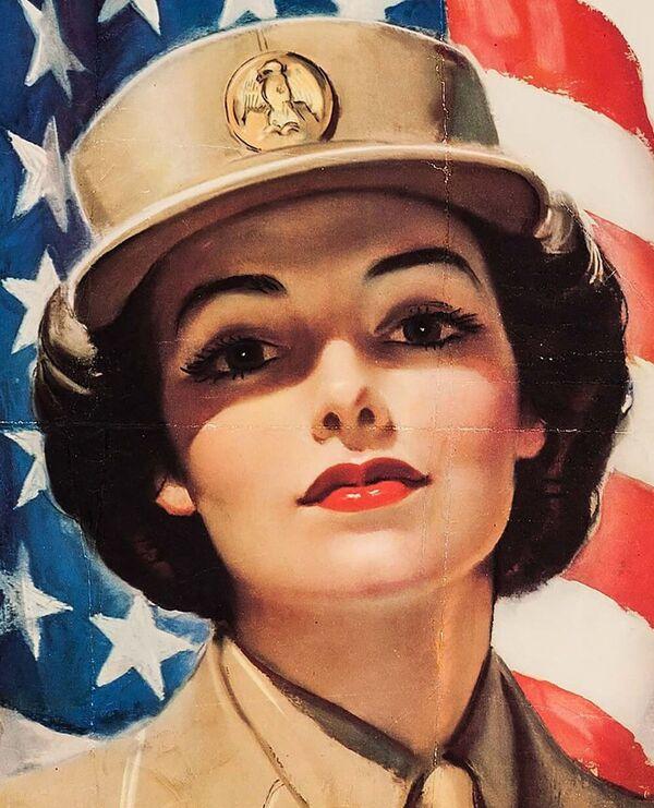 Plakat rekrutacyjny kobiety do Korpusu Kobiet Armii USA w 1943 roku - Sputnik Polska