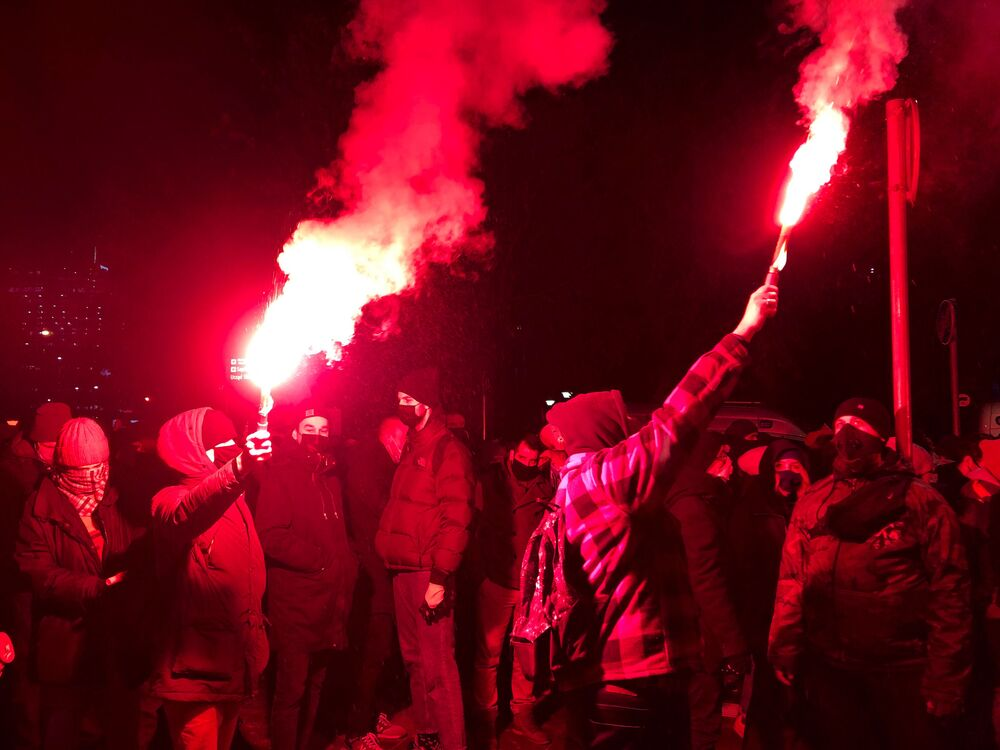 Protesty w Warszawie 27 stycznia 2021 roku po zaostrzeniu prawa aborcyjnego w Polsce
