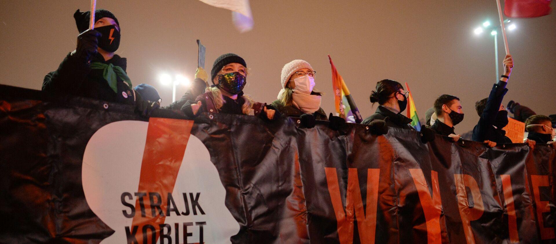 Demonstracje w Polsce 28 stycznia przeciwko zmianom w prawie aborcyjnym - Sputnik Polska, 1920, 08.03.2021