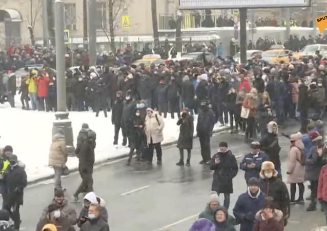 Nielegalne akcje protestacyjne w Moskwie.