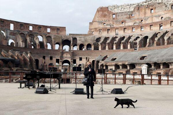 Koncert w Koloseum z okazji ponownego otwarcia muzeów w Rzymie we Włoszech 1 lutego 2021 r. - Sputnik Polska