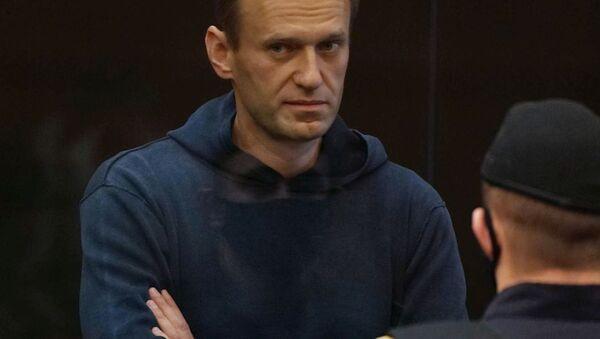 Aleksej Nawalny na posiedzeniu sądu 2 lutego 2021 w Moskwie - Sputnik Polska