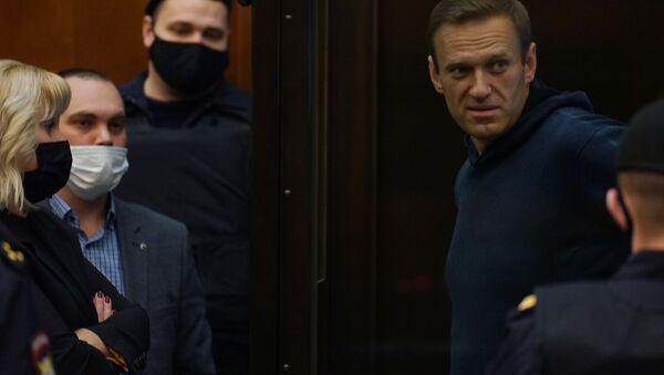 Aleksiej Nawalny w moskiewskim sądzie, 2 lutego 2021 r - Sputnik Polska
