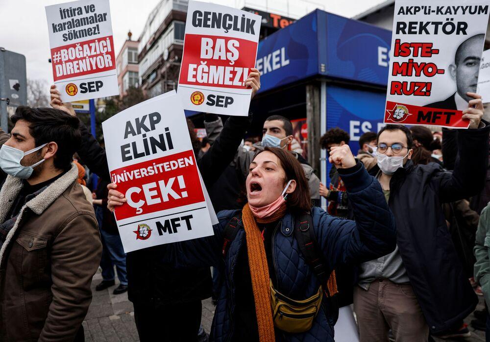 Protestujący w Stambule, Turcja