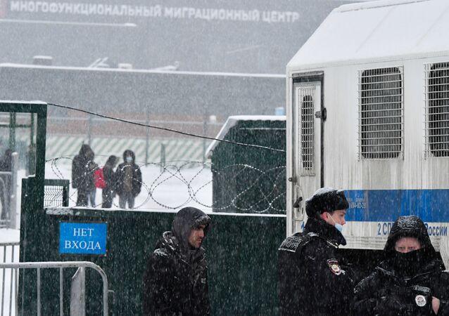 Centrum tymczasowego przetrzymywania cudzoziemców w Sachorowie, gdzie obecnie przebywają obywatele Federacji Rosyjskiej aresztowani administracyjnie po niesankcjonowanych akcjach zwolenników Aleksieja Nawalnego.