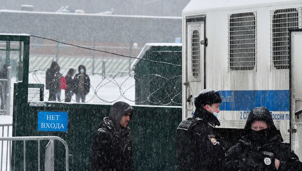 Centrum tymczasowego przetrzymywania cudzoziemców w Sachorowie, gdzie obecnie przebywają obywatele Federacji Rosyjskiej aresztowani administracyjnie po niesankcjonowanych akcjach zwolenników Aleksieja Nawalnego - Sputnik Polska