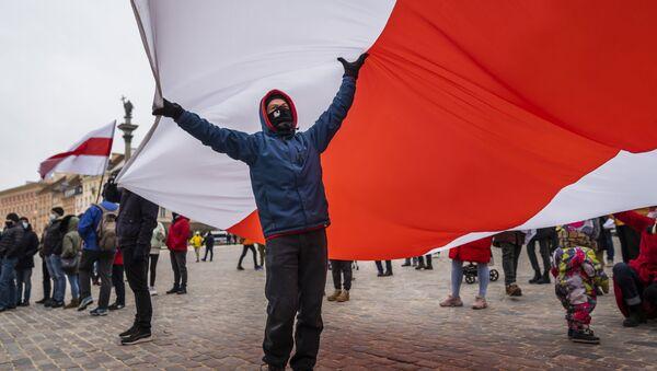 Obchody Międzynarodowego Dnia Solidarności z Białorusią, Warszawa - Sputnik Polska