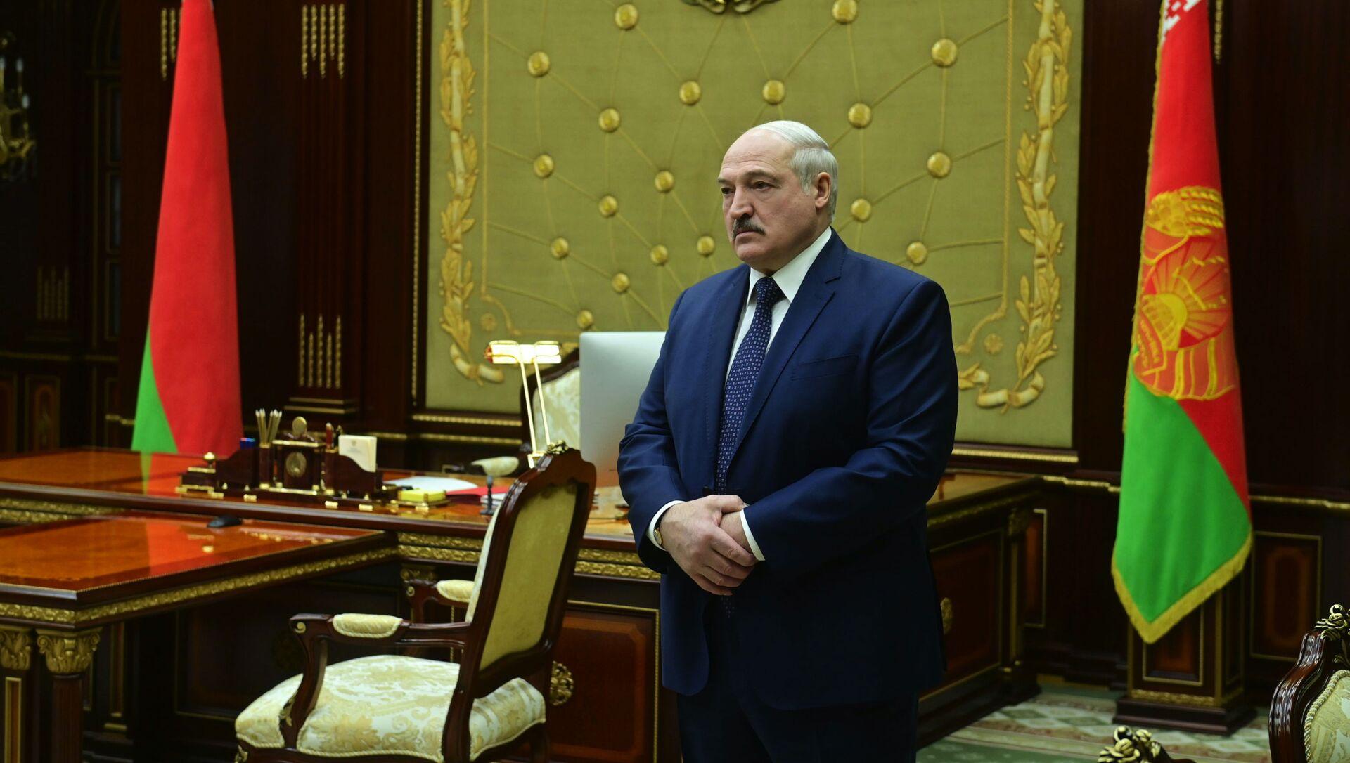 Prezydent Białorusi Aleksander Łukaszenko przed spotkaniem w Mińsku - Sputnik Polska, 1920, 08.02.2021