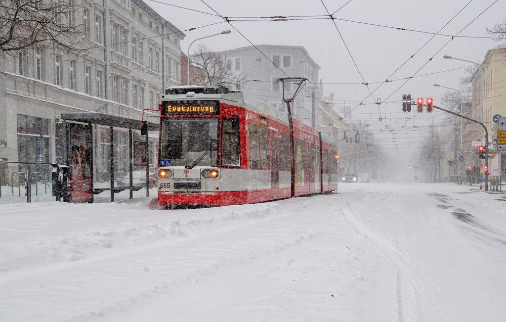 Śnieżyca w Halle