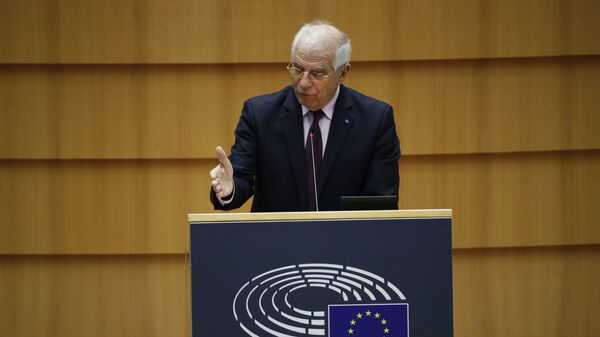 Wysoki Przedstawiciel UE ds. Polityki Zagranicznej i Bezpieczeństwa Josep Borrell przemawia w Parlamencie Europejskim - Sputnik Polska