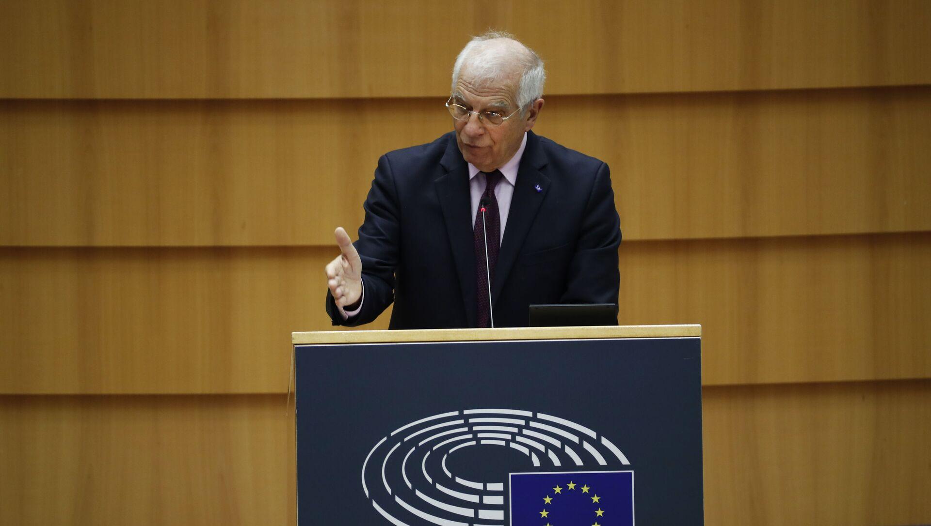Wysoki Przedstawiciel UE ds. Polityki Zagranicznej i Bezpieczeństwa Josep Borrell przemawia w Parlamencie Europejskim - Sputnik Polska, 1920, 16.06.2021