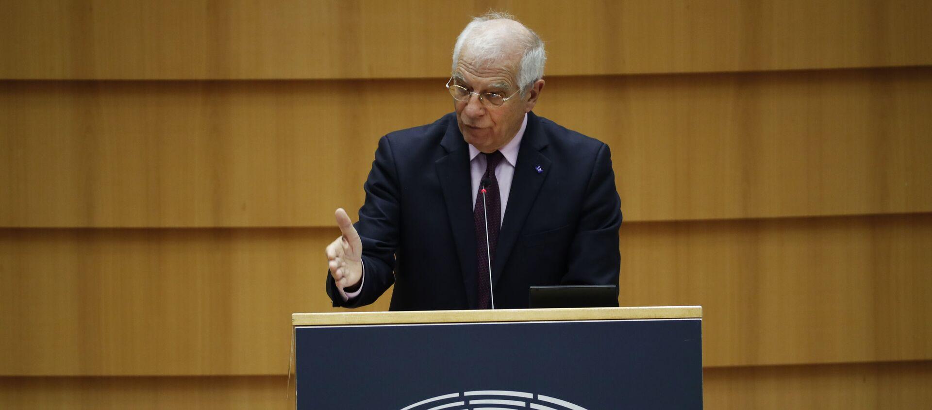 Wysoki Przedstawiciel UE ds. Polityki Zagranicznej i Bezpieczeństwa Josep Borrell przemawia w Parlamencie Europejskim - Sputnik Polska, 1920, 09.02.2021