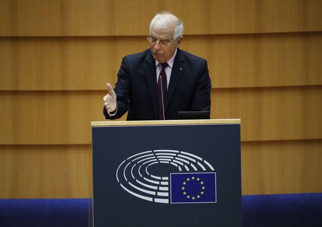 Wysoki Przedstawiciel UE ds. Polityki Zagranicznej i Bezpieczeństwa Josep Borrell przemawia w Parlamencie Europejskim