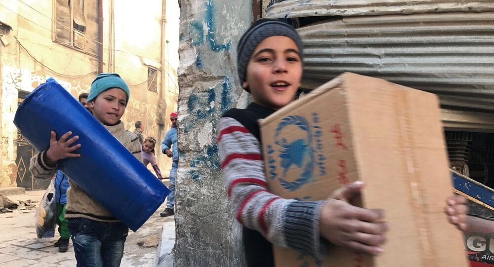 Pomoc humanitarna. Aleppo, Syria