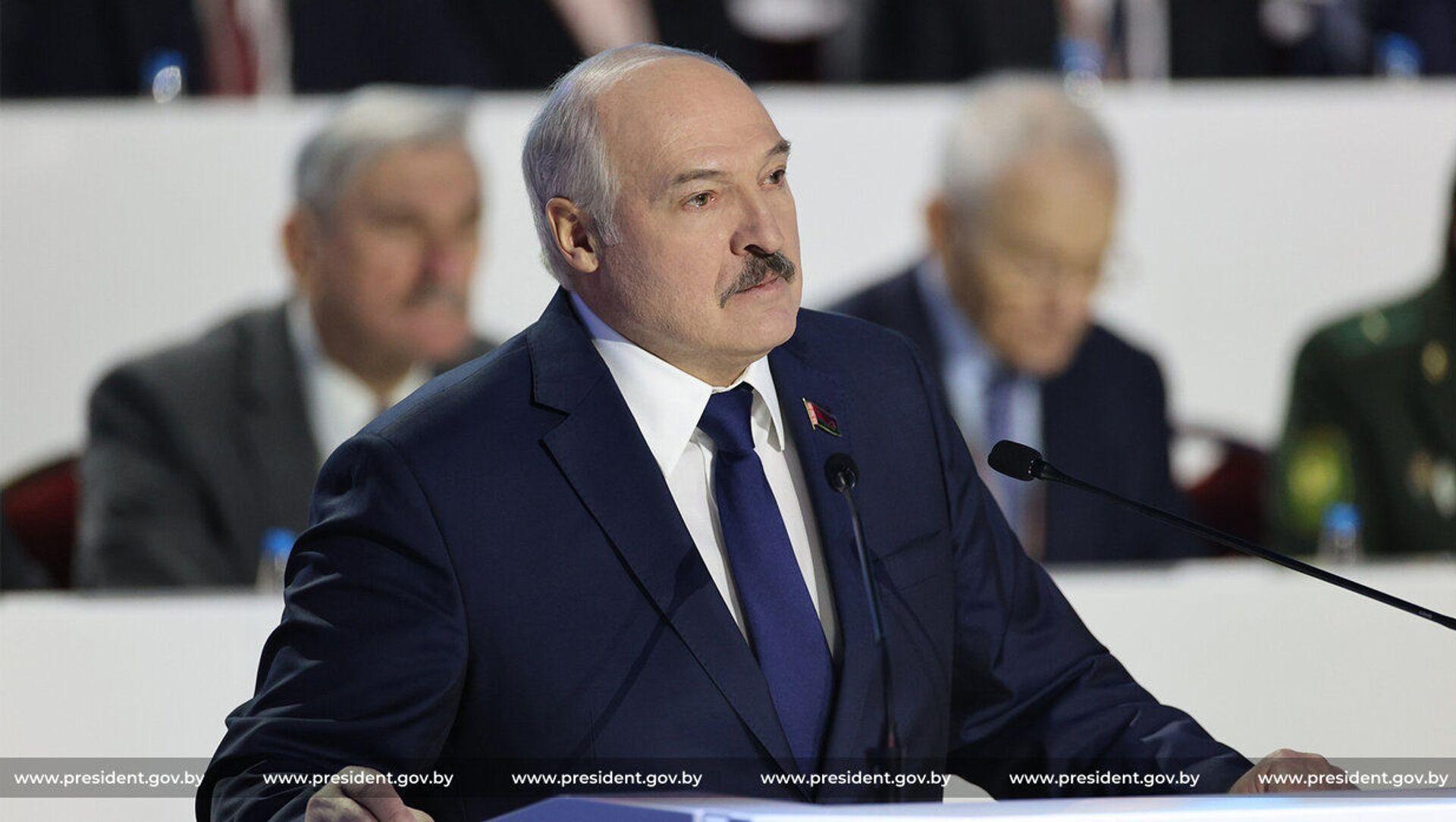Prezydent Białorusi Alaksandr Łukaszenka przemawia na VI Ogólnobiałoruskim Zgromadzeniu Ludowym - Sputnik Polska, 1920, 12.02.2021