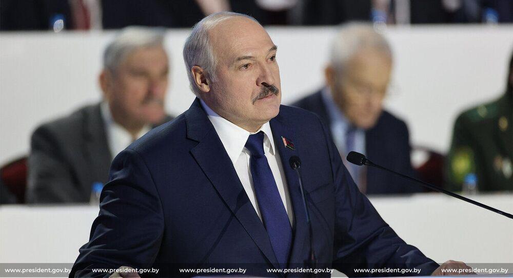 Prezydent Białorusi Alaksandr Łukaszenka przemawia na VI Ogólnobiałoruskim Zgromadzeniu Ludowym