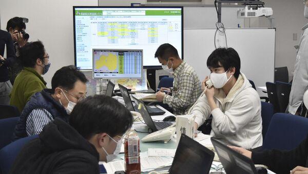 Sztab kryzysowy, prefektura Fukushima, Japonia - Sputnik Polska