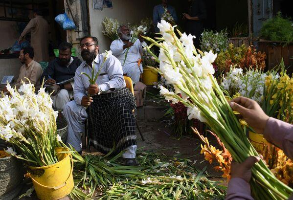 Sprzedawcy kwiatów na bazarze w przeddzień święta zakochanych w Pakistanie  - Sputnik Polska