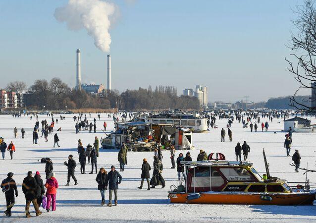Mroźny zimowy dzień w Berlinie
