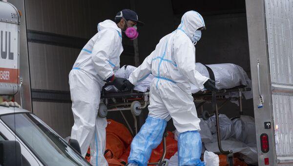 Pracownicy w kombinezonach ochronnych umieszczają ciało w lodówce w Nowym Jorku - Sputnik Polska
