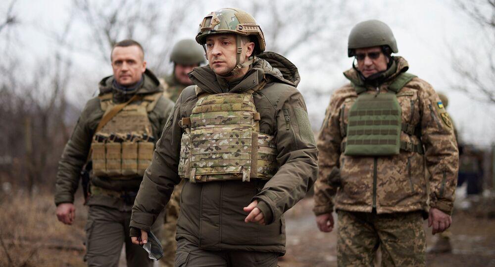 Prezydent Ukrainy Wołodymyr Zełenskij w obwodzie donieckim