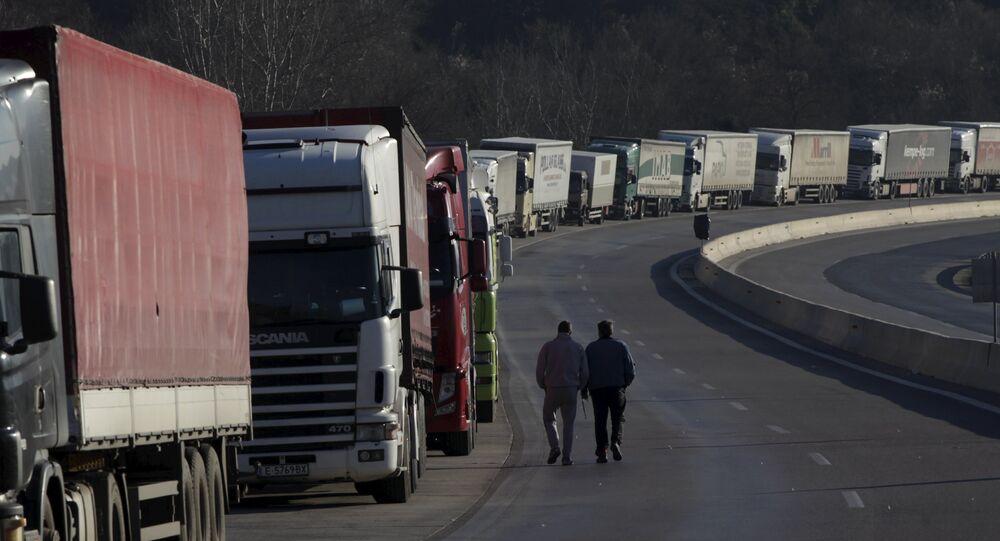 Kierowcy ciężarówek w korkach