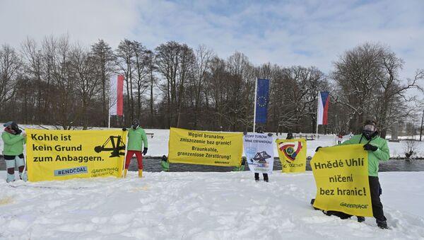 Międzynarodowy protest przeciwko rozbudowie kopalni Turów i działalności elektrowni na Trójstyku granic Polski, Czech i Niemiec  - Sputnik Polska
