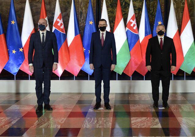 Szefowie rządów państw V4 oraz Charles Michel podczas szczytu Grupy Wyszehradzkiej w Krakowie