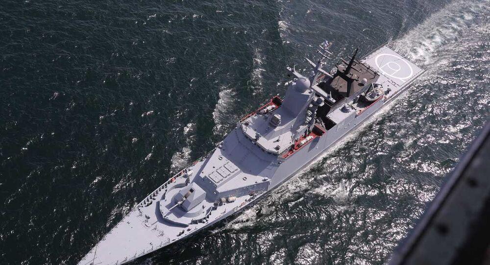 Rosyjska korweta podczas wspólnych ćwiczeń morskich z Iranem na północy Oceanu Indyjskiego