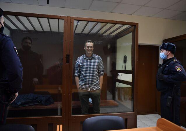 Aleksiej Nawalny na sali rozpraw w Rejonowym Sądzie Babuszkinskim w Moskwie.