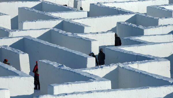 Labirynt ze śniegu w prowincji Manitoba w Kanadzie - Sputnik Polska