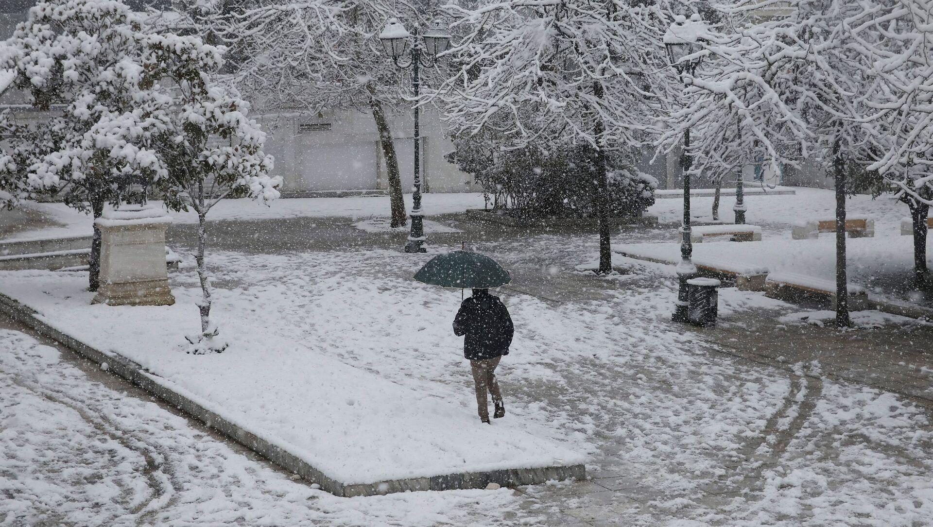 Opady śniegu w Grecji. - Sputnik Polska, 1920, 21.02.2021