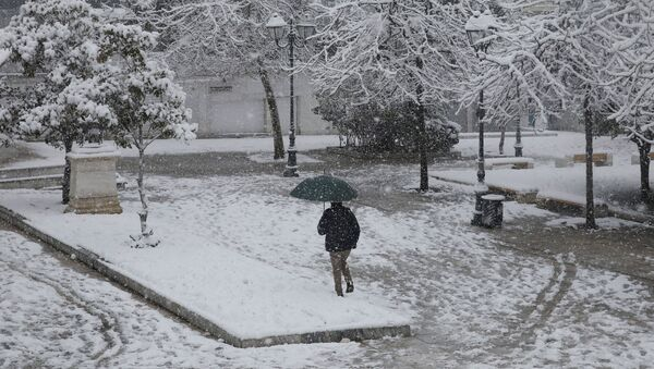 Opady śniegu w Grecji. - Sputnik Polska