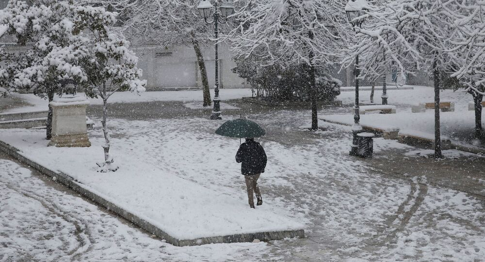 Opady śniegu w Grecji.